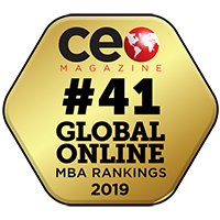 #41 Global Online MBA Rankings 2019 logo, from CEO Magainze